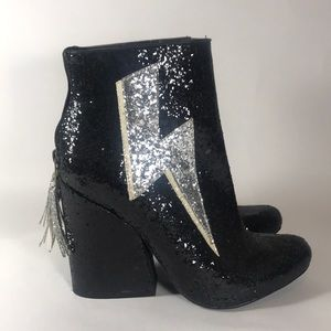 YRU Ziggy Black and White Sequined Boots Booties